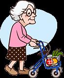 Großmutter 90 Jahre mit Rollator