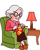 Großmutter 80 Jahre Stricken einer Socke