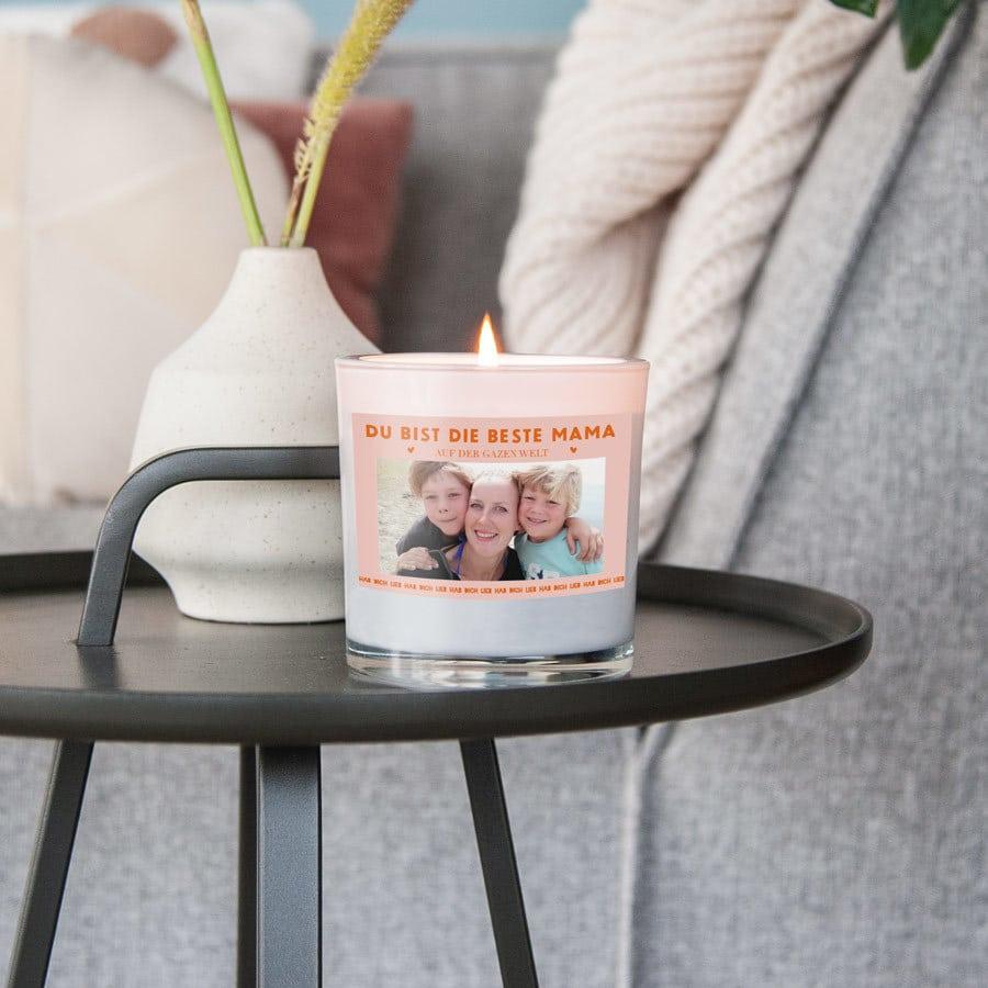 Kerze im Glas mit Foto - Muttertagsgeschenke