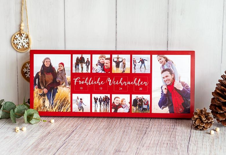 Adventskalender mit eigenen Fotos und Schokolade für Oma