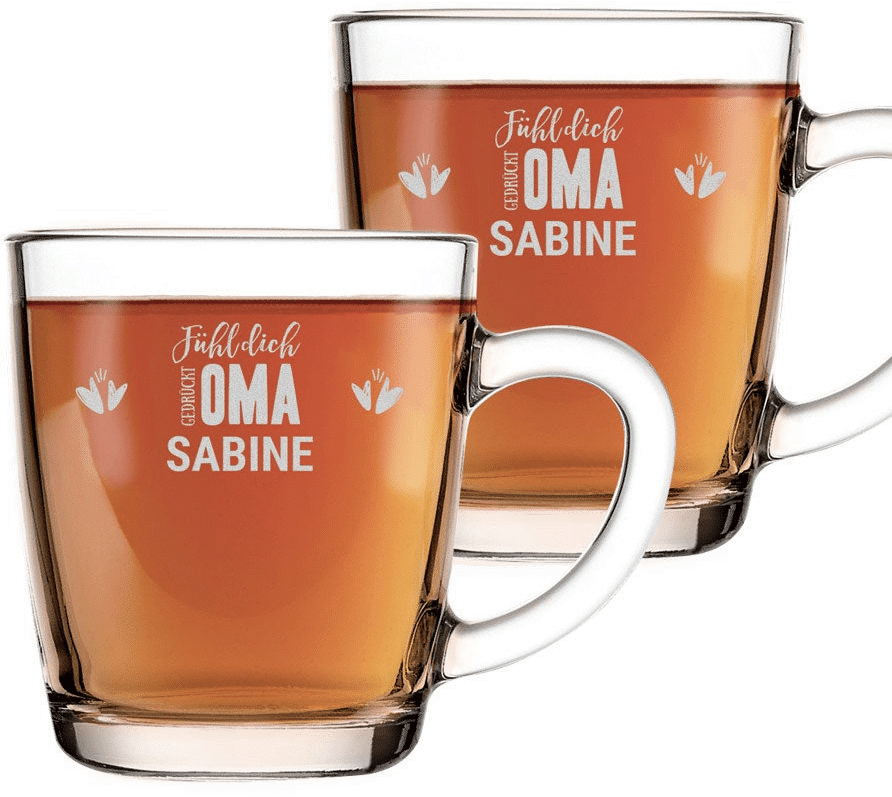 Teeglas mit Gravur für Oma - Geschenk zu Weihnachten