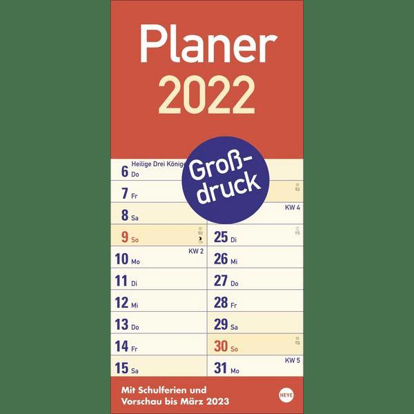 Kalender mit extra großen Zahlen