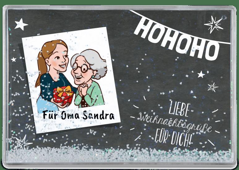 Geschenk für Großeltern - Schneekugel mit Foto