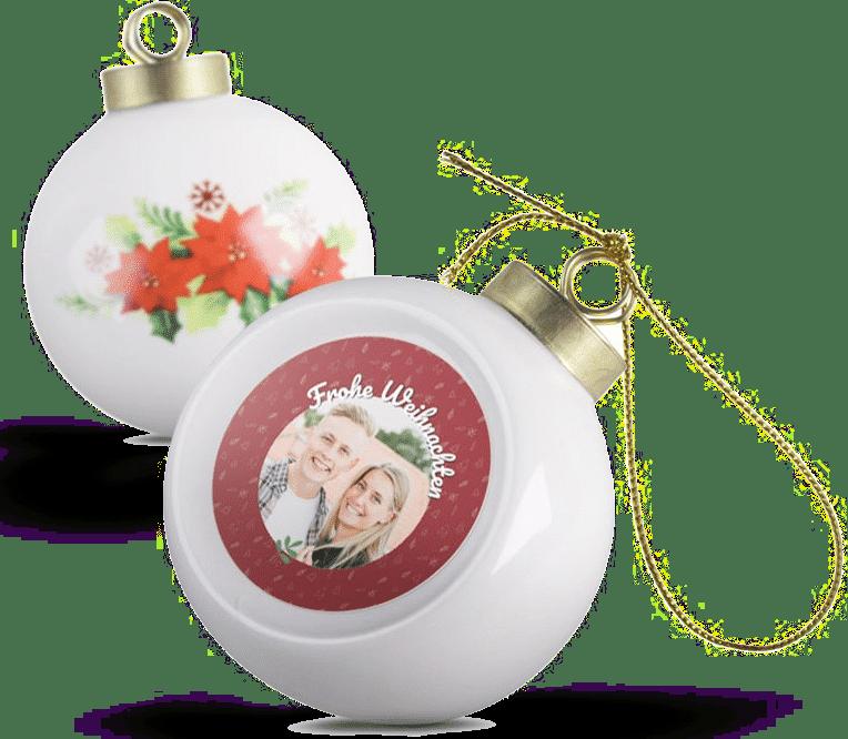 Weihnachtskugeln Keramik - mit Foto