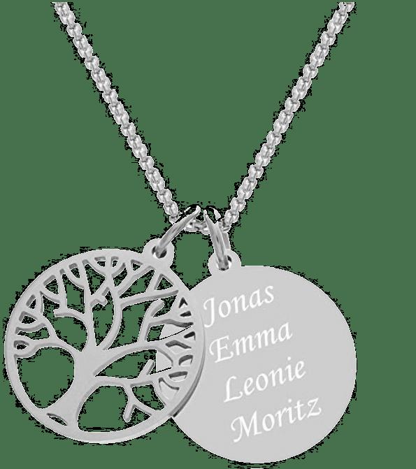 Halskette für Oma mit Gravur - Namen Enkelkinder