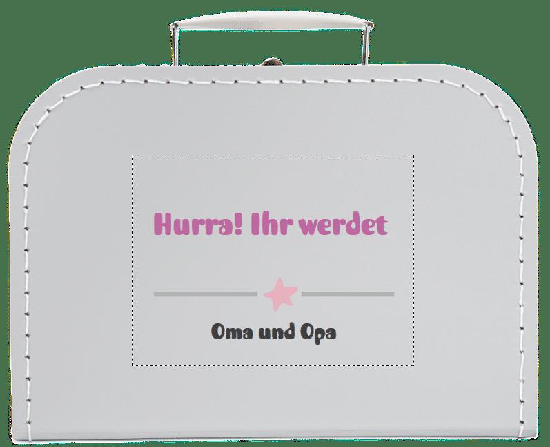 Geschenk, um Ihren Eltern zu sagen, dass Sie schwanger sind - Koffer