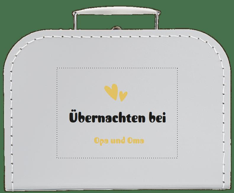 Kinderkoffer mit Namen - Geschenk, um Ihren Eltern zu sagen, dass Sie schwanger sind
