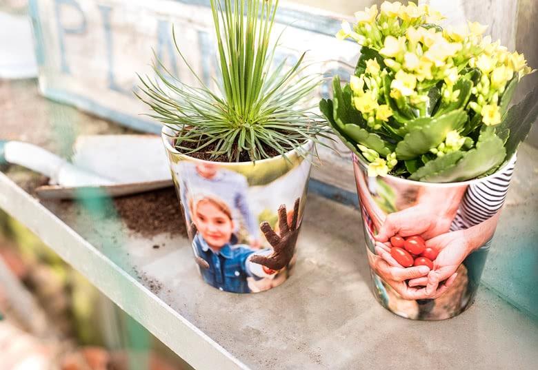 Blumentopf mit eigenen Fotos - Geschenk für Oma