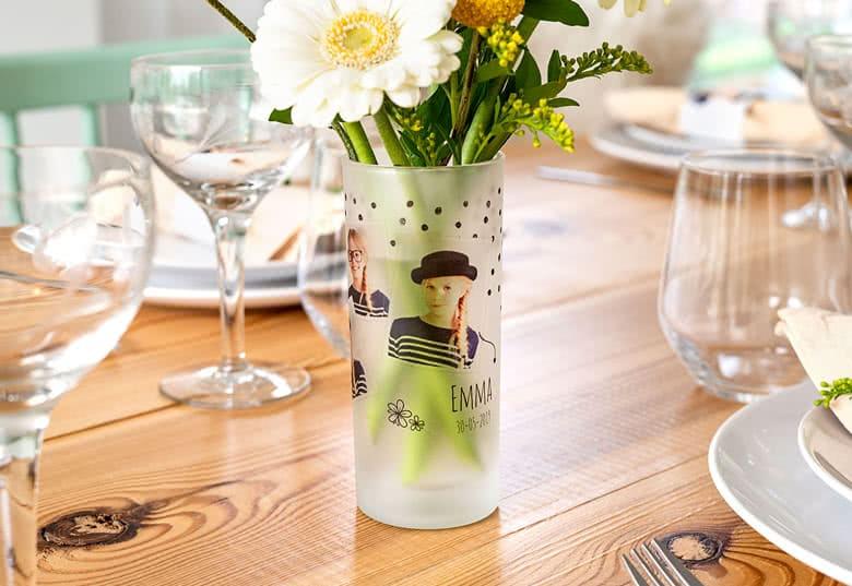 Geschenk für Oma von enkeln- Vase mit Foto
