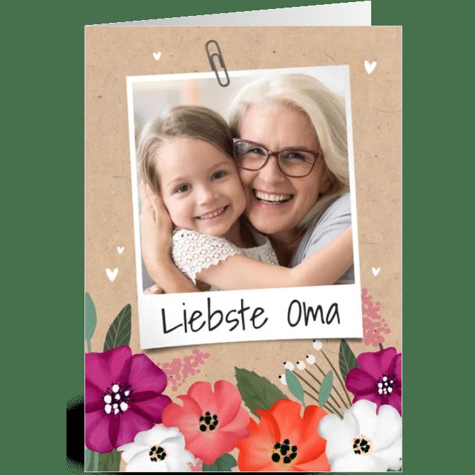 Karten online gestalten - Fotokarte Oma