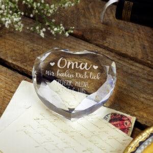 Herzkristall mit Gravur - Persönliches Geschenk für Oma